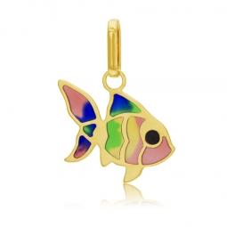 Pendentif en or jaune et laque, poisson
