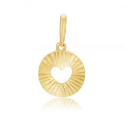 Pendentif en or jaune, coeur ajouré strié
