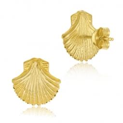 Boucles d'oreilles en or jaune, coquillage