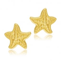 Boucles d'oreilles en or jaune, étoile de mer