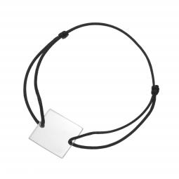 Bracelet cordon noir en argent rhodié plaque carré 20 mm