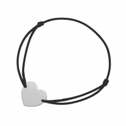 Bracelet cordon noir en argent rhodié, coeur