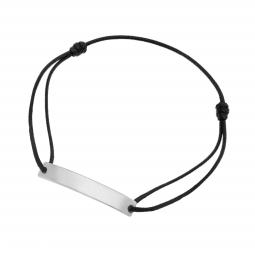 Bracelet cordon noir en argent rhodié, plaque rectangle 6 mm