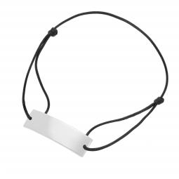 Bracelet cordon noir en argent rhodié, plaque  rectangle 10mm