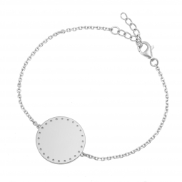Bracelet en argent rhodié, plaque ronde 19.5  mm