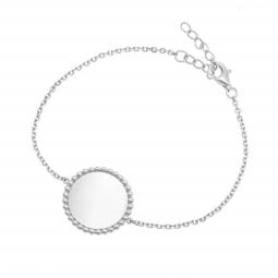 Bracelet argent rhodié, plaque ronde perlée 18 mm