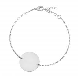 Bracelet en argent rhodié plaque ronde 19 mm, motif pointillé