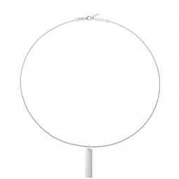 Collier en argent rhodié, plaque rectangle verticale 10 mm
