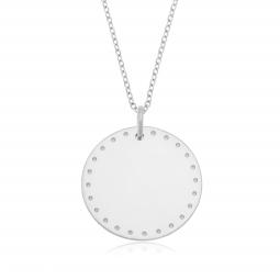 Collier en argent rhodié plaque ronde 25 mm, motif pointillé