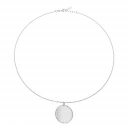 Collier argent rhodié, plaque ronde perlée 25 mm