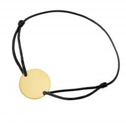 Bracelet cordon noir en plaqué or, plaque ronde 19.5 mm