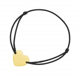 Bracelet cordon noir en plaqué or, coeur