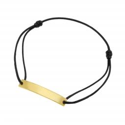 Bracelet cordon noir en plaqué or, plaque rectangle 6 mm