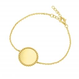 Bracelet en plaqué or, plaque ronde perlée 18 mm