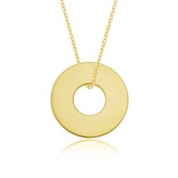 Collier en plaqué or, anneau 20mm