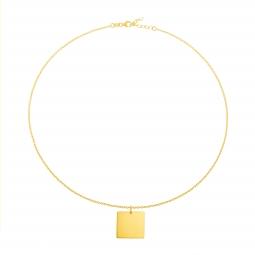 Collier en plaqué or, carré 20mm