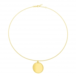 Collier en plaqué or, plaque ronde perlée 25 mm