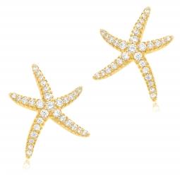 Boucles d'oreilles en argent doré et oxydes de zirconium, étoile de mer