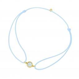 Bracelet cordon en or jaune, nacre et laque bleue