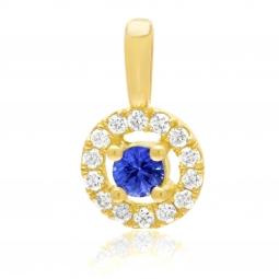 Pendentif en or jaune, saphir et diamants