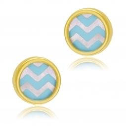 Boucles d'oreilles en or jaune et nacre, laque bleu