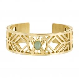 Bracelet jonc Méli Versa en acier doré 20 mm, aventurine