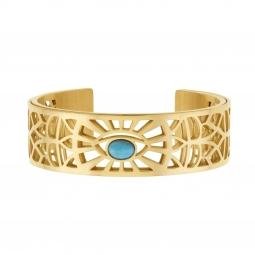 Bracelet jonc Méli Versa en acier doré 20mm, turquoise