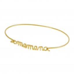 Bracelet jonc en plaqué or, Maman