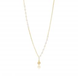 Collier en argent doré et perles synthétiques, coeur