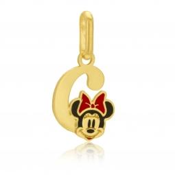 Pendentif en or jaune et laque, lettre C, Minnie Disney