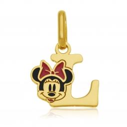 Pendentif en or jaune et laque, lettre L, Minnie Disney