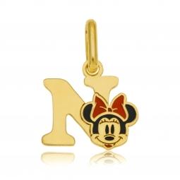 Pendentif en or jaune et laque, lettre N, Minnie Disney