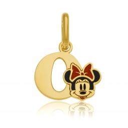 Pendentif en or jaune et laque, lettre O, Minnie Disney