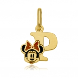 Pendentif en or jaune et laque, lettre P, Minnie Disney