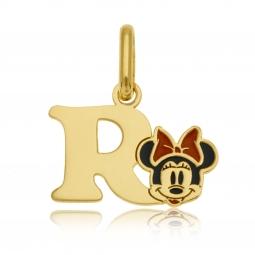 Pendentif en or jaune et laque, lettre R, Minnie Disney