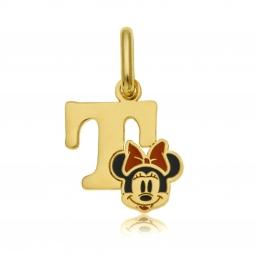 Pendentif en or jaune et laque, lettre T, Minnie Disney