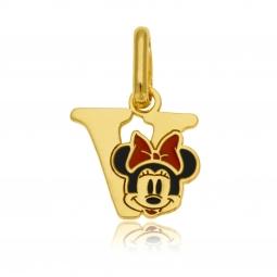Pendentif en or jaune et laque, lettre V, Minnie Disney