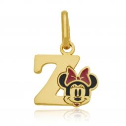 Pendentif en or jaune et laque, lettre Z, Minnie Disney