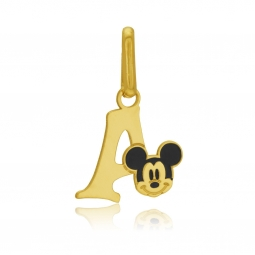 Pendentif en or jaune et laque, lettre A, Mickey Disney