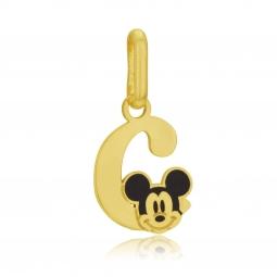 Pendentif en or jaune et laque, lettre C, Mickey Disney