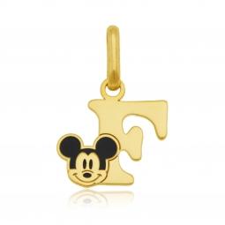 Pendentif en or jaune et laque, lettre F, Mickey Disney