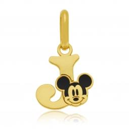 Pendentif en or jaune et laque, lettre J, Mickey Disney