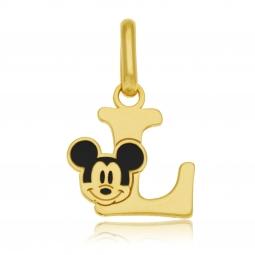 Pendentif en or jaune et laque, lettre L, Mickey Disney