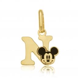 Pendentif en or jaune et laque, lettre N, Mickey Disney