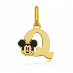 Pendentif en or jaune et laque, lettre Q, Mickey Disney