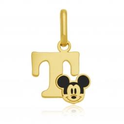 Pendentif en or jaune et laque, lettre T, Mickey Disney