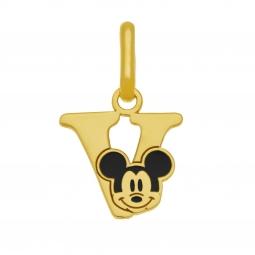 Pendentif en or jaune et laque, lettre V, Mickey Disney