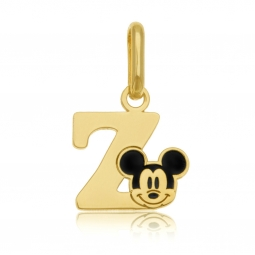 Pendentif en or jaune et laque, lettre Z, Mickey Disney