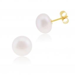 Boucles d'oreilles en or jaune, perle de culture cabochon d'eau douce 9-9.5 mm
