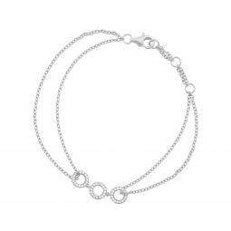 Bracelet en argent rhodié, 3 ronds et oxydes de zirconium